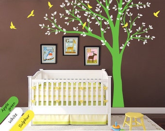 Modern Nursery Tree Wall Decal Wall decal Room decor with Flying Birds, Wall mural - 028
