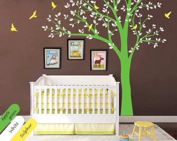 Modern nursery tree wall decal wall decal room decor with - Modern nursery wall decor ...