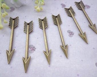 SALE--Arrow Charms -50pcs Antique Bronze Charm Pendants 64mmx11mm