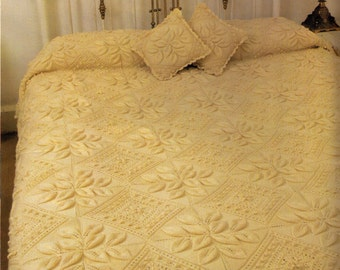 VINTaGE 60s PETALS & DIAMOND ARaN STyLe BeDspread and CuShions D/BeD or S/BeD Blanket-Great Gift-5 PlY-Knitting Pattern PdF Instant Download