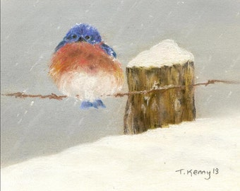 Little Bird in Snow Greeting Card