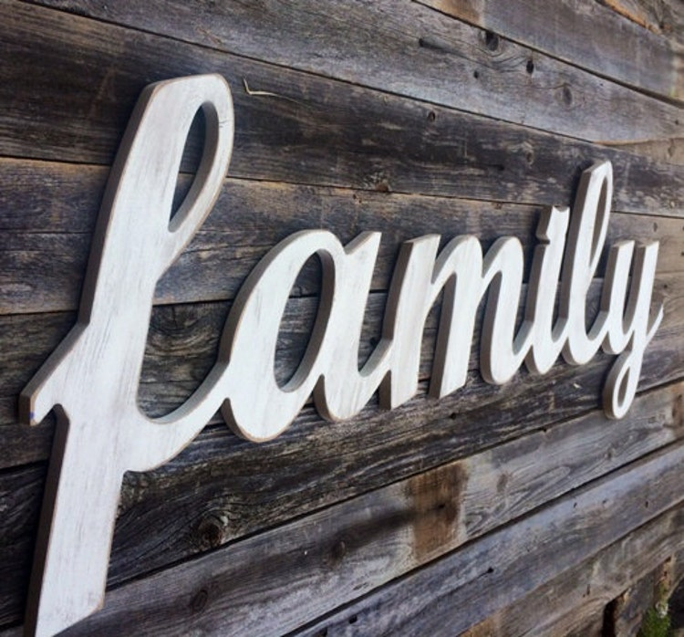 Family Large Wooden Letters Script Word By Asimpleplaceonmain