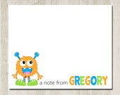 Set of 12 - LITTLE MONSTER - Personalized Note Cards / Folded Note Cards / Great for Gifts