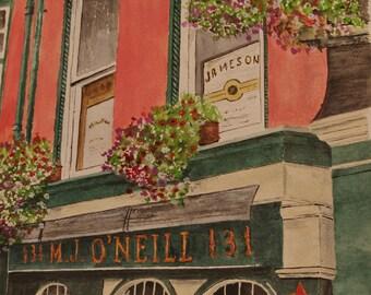 "watercolor painting,PRINT,ONEILLS Pub""- Scenic,Ireland painting Irish Pub -M. J. O'Neill's Pub in Ireland, scenic Ireland art"