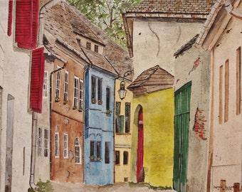 "watercolor painting,BULGARIA STREET SCENE"",original art, street scene,colorful buildings,lantern,blues,,slate roofs,european scene,street"