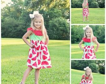 Watermelon Ruffle Neck Peasant Dress