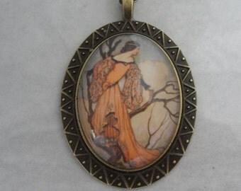 Art nouveau fairy pendant necklace, Warwick Goble, The Iron Stove, oval picture pendant, antique bronze; UK seller