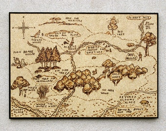 Winnie the Pooh inspired hundred acre wood map pyrography art