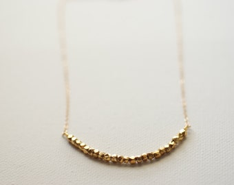 Gold Nugget Necklace, 14k gold Vermeil Nuggets,Gold Nuggets Necklace- Dainty Gold Nuggets Necklace,Gold Bead Necklace,sideways bead necklace