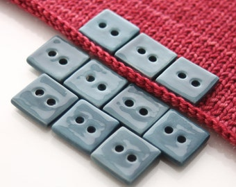 "10 Small Square Teal Blue Ceramic Buttons (20 mm / 0.8"")"
