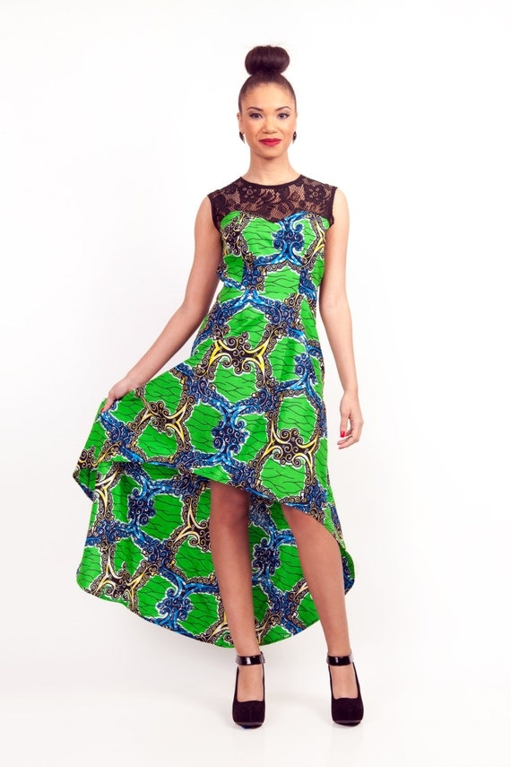 items similar to lace top african print highlow dress on etsy