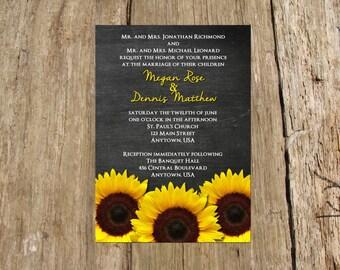 Wedding Bridal Shower Birthday Party Invitation, Chalkboard Sunflower Design