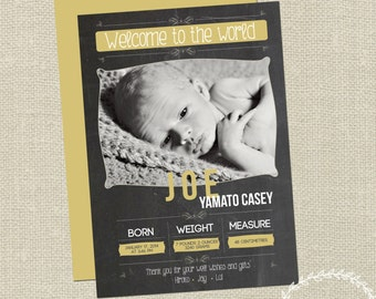 Baby Announcement  / Birth Details Announcement / Baby Birth Details / Thank You Announcement Card / Keepsake / Printable Baby Photo Card