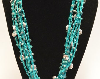 Turquoise and Silver Crocheted beaded necklace