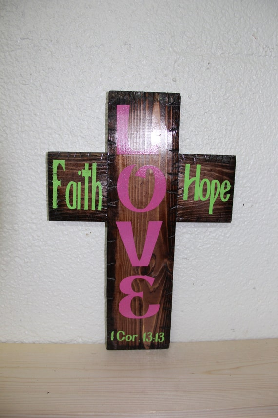 Faith Home Love Cross (red mahogany)