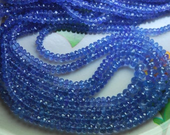 14 Inch Strands,AAA Quality,Tanzanite Micro Faceted Rondelles, 3-4mm