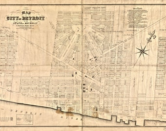 Rare restored Map of Detroit by John Farmer 1835  Archival Print. Limited edition