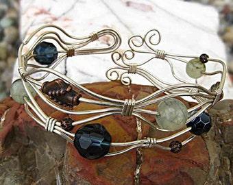 Sterling Silver (SS) Wire Wrap Gemstone Cuff Bracelet - SSWWBr13