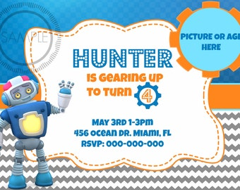 Robot Birthday Party Picture Invitation