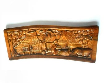 "Natural Old Teak Wood Handmade Carving Thai Village Carved Culture Home Wall Art Decor 23""X9.25"""