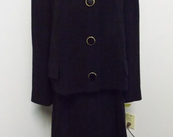 1960 Era Originala Sophy Curson Fine Womens Clothing  Black Suit Skirt and Coat Wool Blend