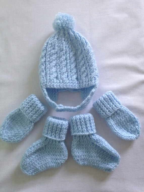 Knitting Patterns For Baby Mittens And Booties : Items similar to Hand knitted baby boys blue cable and rib helmet hat, s...