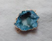 Blue Quartz Druzy connector / Irregular Raw blue Druzy Quartz link 24K Gold Plated Honed section druzy slice geode 1piece SG