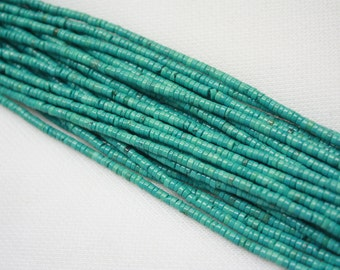 """Turquoise Spacer Bead Tiny Spacers 4x2mm Natural Green Turquoise Beads Supply Natural Gemstone Jewelry making 16""""/ full strand"""