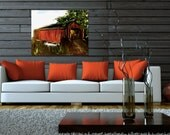 Red Covered Bridge Painting