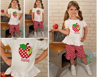 Back to School Apple Shirt,Apple Shirt,Add Shorts,Applique Embroidered Shirt