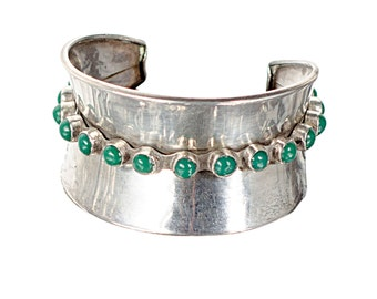 Sterling & green onyx cabochons cuff bracelet