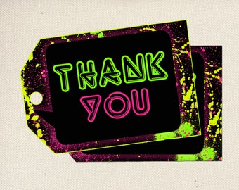 Glow In The Dark Party Thank You Tags