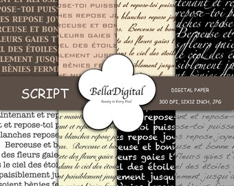 Digital paper Black White, Brown, Ivory, Gray French Script and Text Patterns.  Digital scrapbook background. Digital paper pack. Paper pack