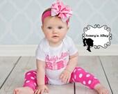 Daddy's Little Girl - Girls Pink Applique Shirt & Matching hair bow set