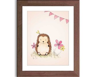 Woodland Nursery - Hedgehog Nursery Art - Baby Girl Nursery Decor - Watercolor Nursery Art - Pink and Yellow Nursery - H301