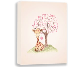 Giraffe Illustration - Canvas Nursery Art - PRINT - Baby Girl - Watercolor PRINT - Girl Nursery Decor - Art for Children - G502