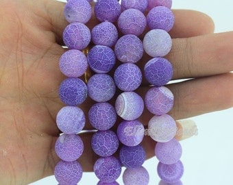 10mm Frosted Agate Beads,Light Purple Agate Beads,Full Strand,Agate Beads,Round Agate Beads,Gemstone Beads--About 38 Pieces--15inches--BA017