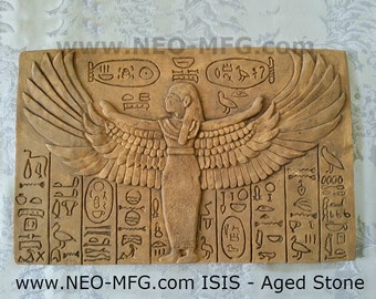 History Egyptian ISIS Sculptural wall relief plaque Neo-Mfg 17""