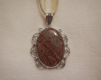 PAY IT FORWARD - Red-Brown Jasper pendant necklace set in silver (P225)