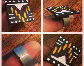 Tribal handpainted ring