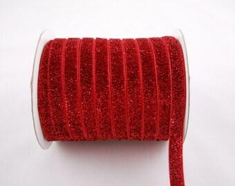3/8'' Red Elastic Glitter Ribbon Stretchy Ribbon Sparkle