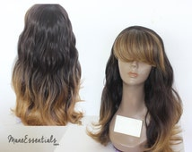 Brown Ombre Full Wig with Bangs