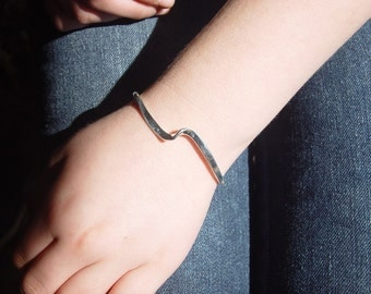 Cuff Bracelet in Sterling silver, hand forged
