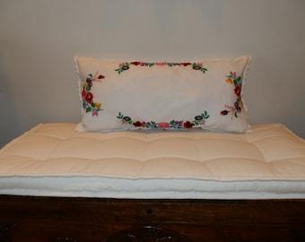Linen handmade embroidery pillow Hungarian Kalocsa