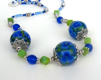 Hand Made Glass Lampwork Beads necklase