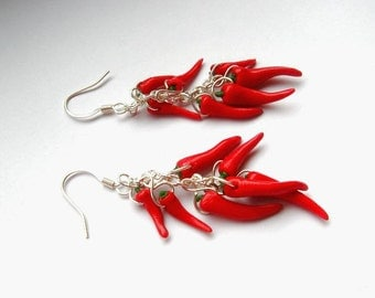 Earrings chilli peppers