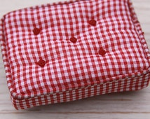 Shabby Chic/Cottage Style Miniature Dollhouse Ottoman - Red and White Check Miniature with handmade buttons