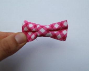 Bright pink gingham fabric bow on elastic headband, baby, girl