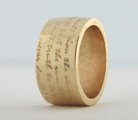 14k gold wide band engraved ring custom engraved by