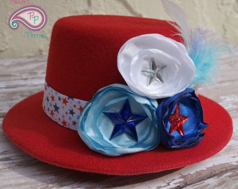 Red White and Blue Patriotic 4th of July with stars and Feathers Mini Top Hat Cute Photography Prop
